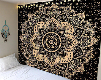 Cotton Golden Tapestry Wall Hanging Wall Tapestry Wall Hanging Mandala  Tapestry Hippie Tapestry Tapestry Mandala Bohemian Indian Tapestry