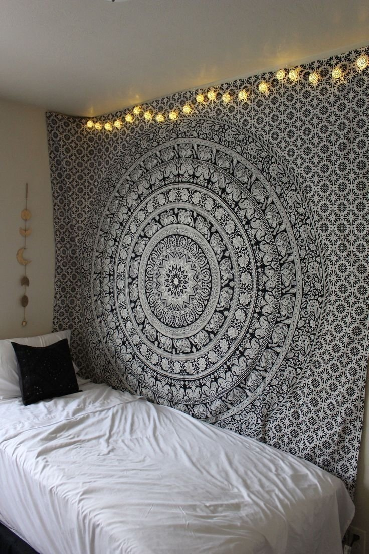 Mandala Tapestry Wall Hanging,Meigar Tapestry Wall Hanging Black & White  Elephant Mandala Hippie Hippy