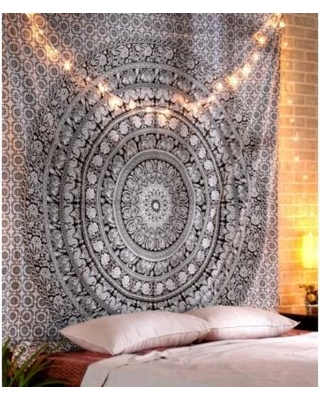 Rajrang tapestry wall hanging dorm, Elephant tapestry, Cotton mandala  Tapestry Beach throw, Black