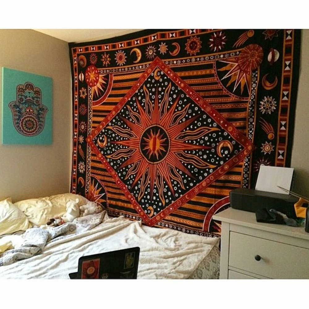Multicolor Celestial Sun Moon & Planets Tapestry Wall Hanging Throw  Bedspread Bedding