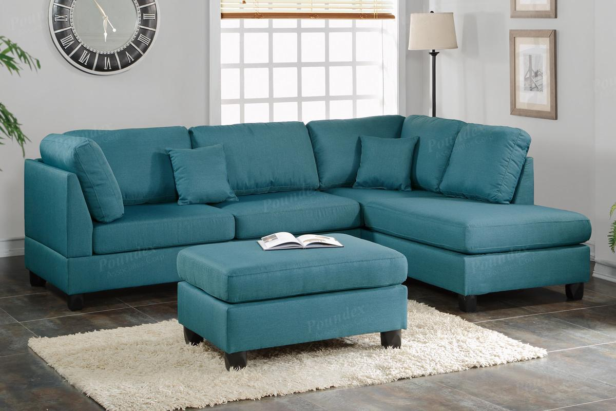 Blue Fabric Sectional Sofa and Ottoman - Steal-A-Sofa Furniture Outlet Los  Angeles CA