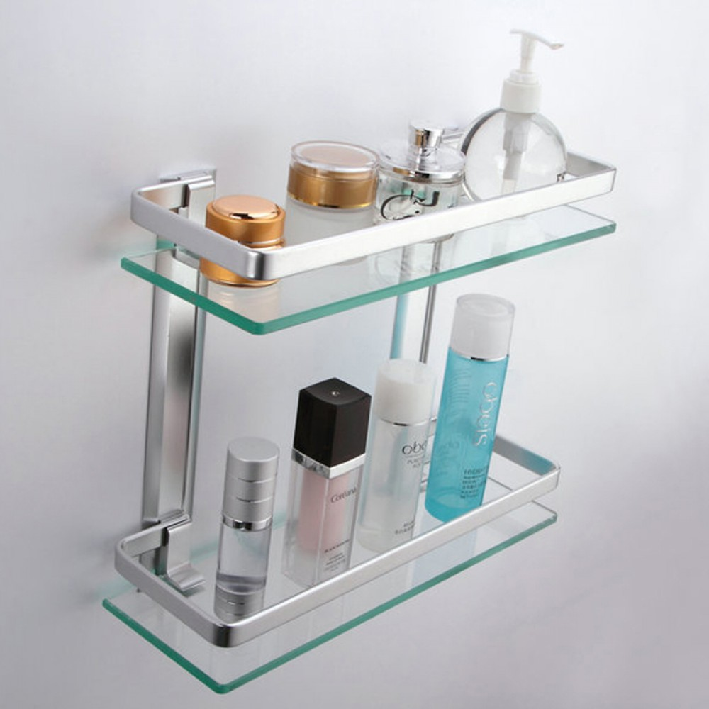 KES Bathroom 2-Tier Glass Shelf with Rail Aluminum and Extra Thick Tempered  Glass Shower Shelving