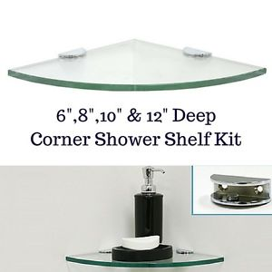 Image is loading Corner-Tempered-Glass-Shower-Shelf-Kit-Rounded-With-