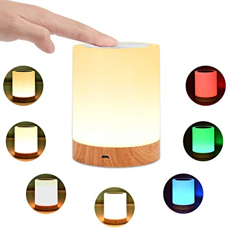 KMASHI Night Light, Bedside Table Lamps for Bedrooms, LED Rechargeable  Portable Touch Lamp with