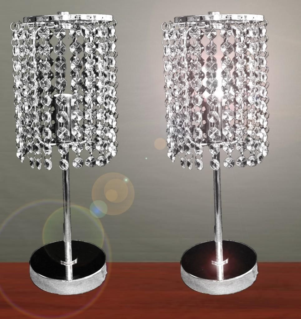 Furniture, Pair Of Touch Bedside Table Lamps With Stainless Steel Stand And  Hanging Crystal As Lampshade Ideas ~ Bedside Table Lamps