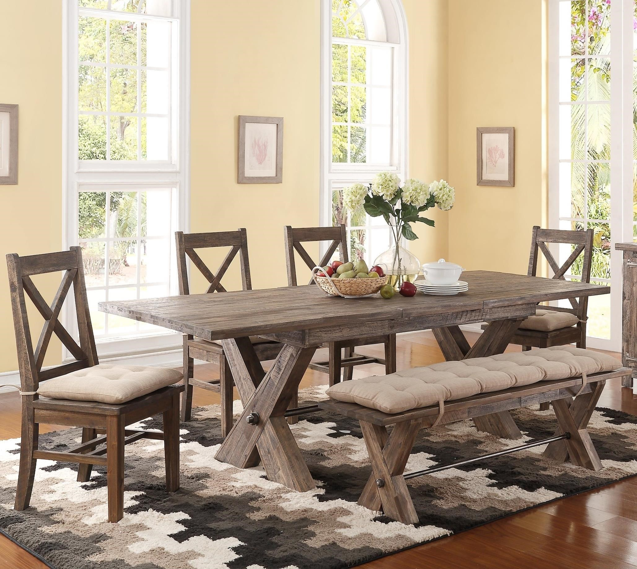 New Classic Tuscany Park 6 Piece Trestle Dining Table and Cushioned