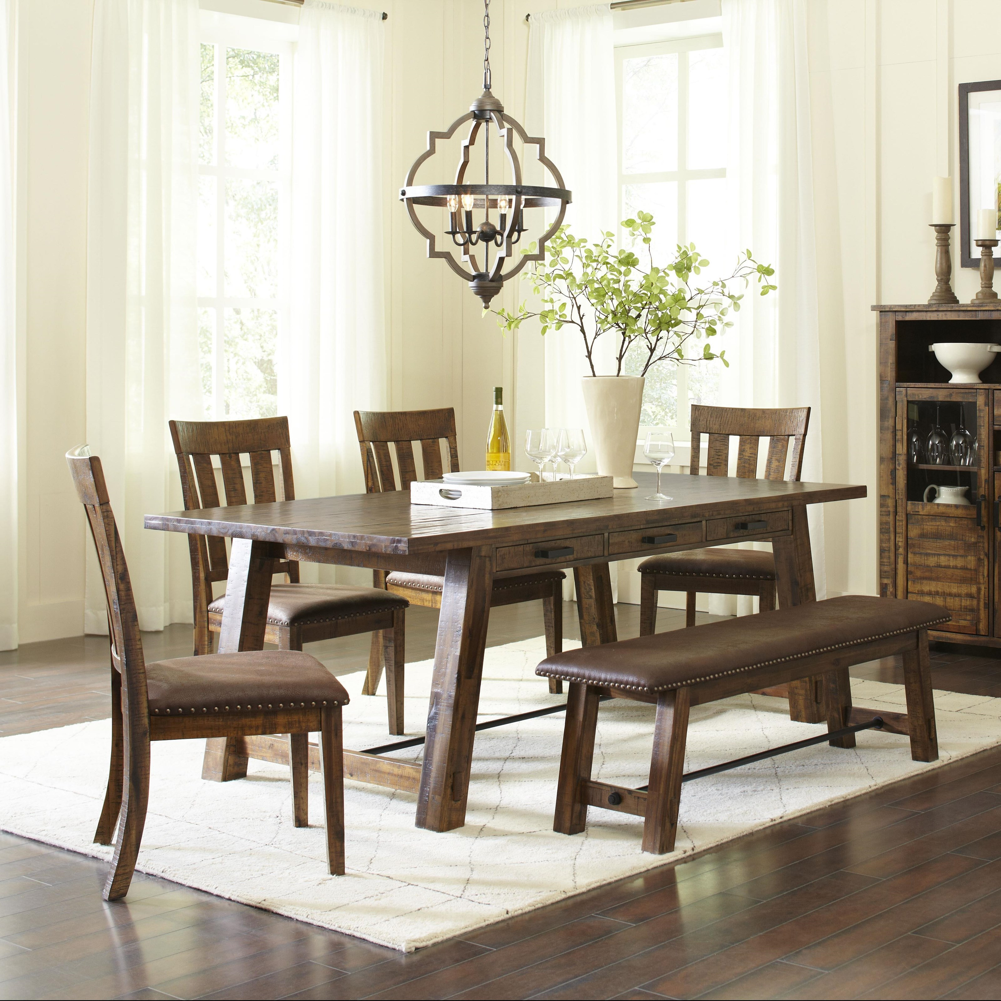 Jofran Cannon Valley Trestle Dining Table and Chair/Bench Set - Jofran