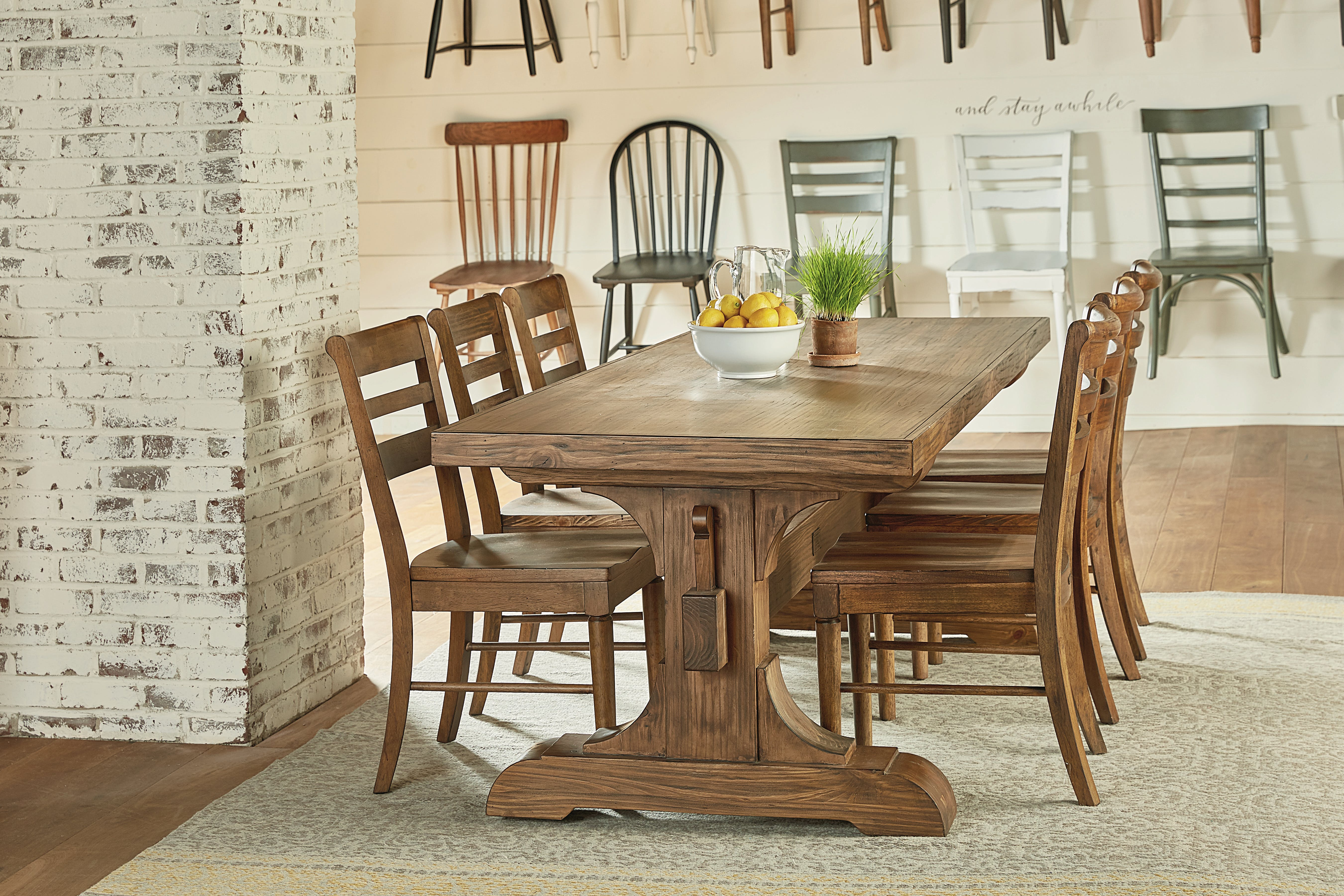 Magnolia Home Dining Room KEYED TRESTLE TABLE SETTING TABLE WITH 6