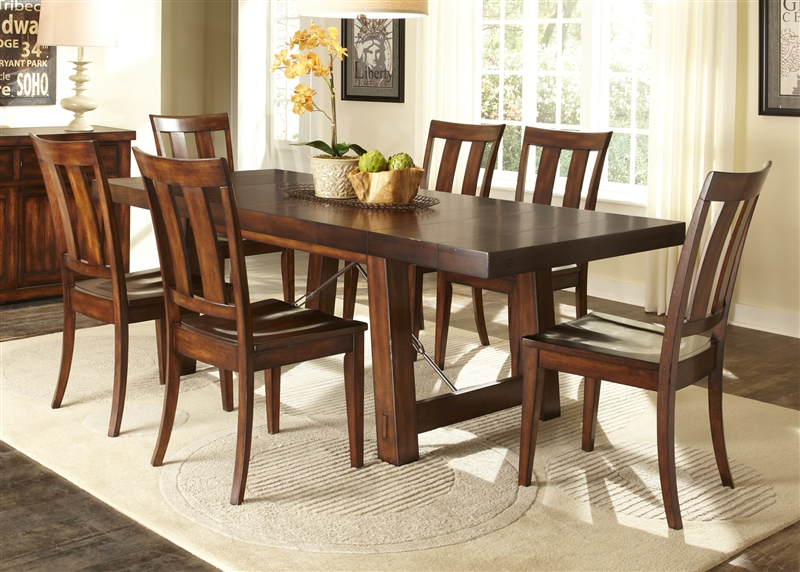 Tahoe Trestle Table 5 Piece Dining Set in Mahogany Stain Finish by