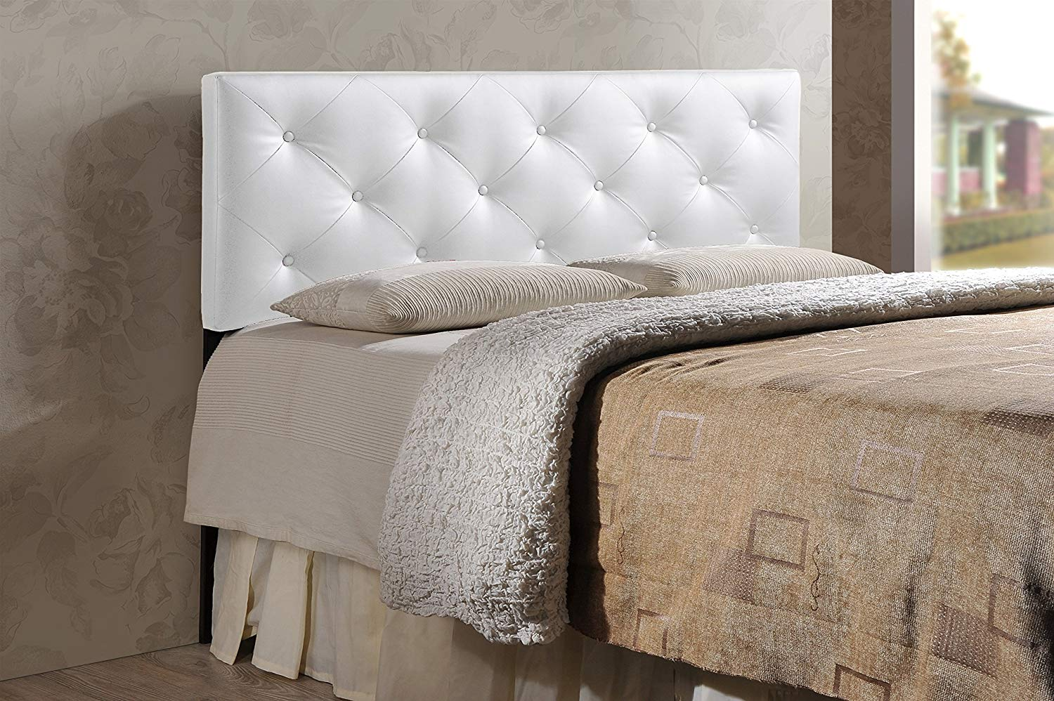 Traveller Location - Baxton Studio Wholesale Interiors Baltimore Modern and  Contemporary Faux Leather Upholstered Headboard, King, White -
