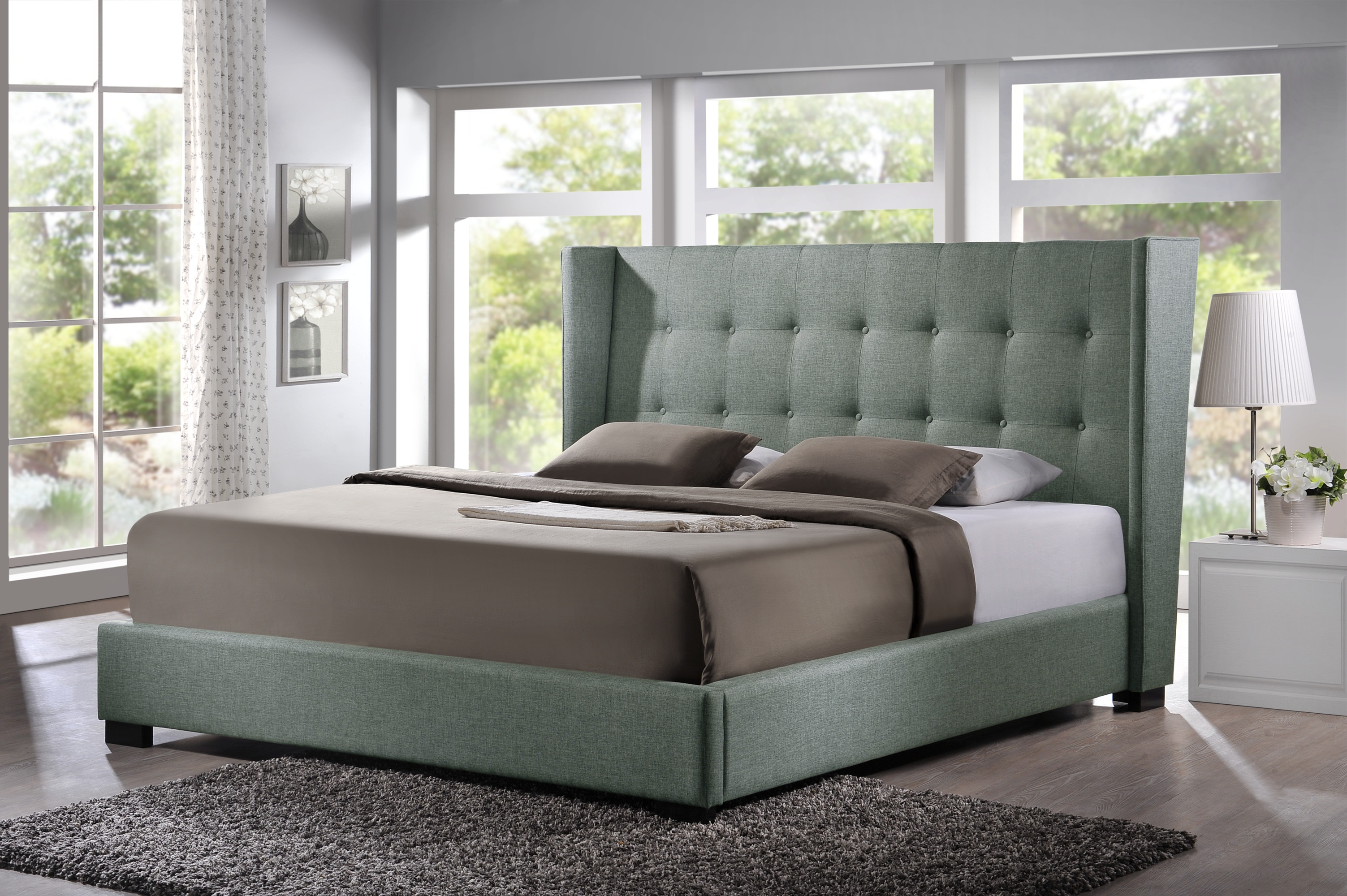 Baxton Studio Favela Gray Linen Modern Bed with Upholstered Headboard - King  Size