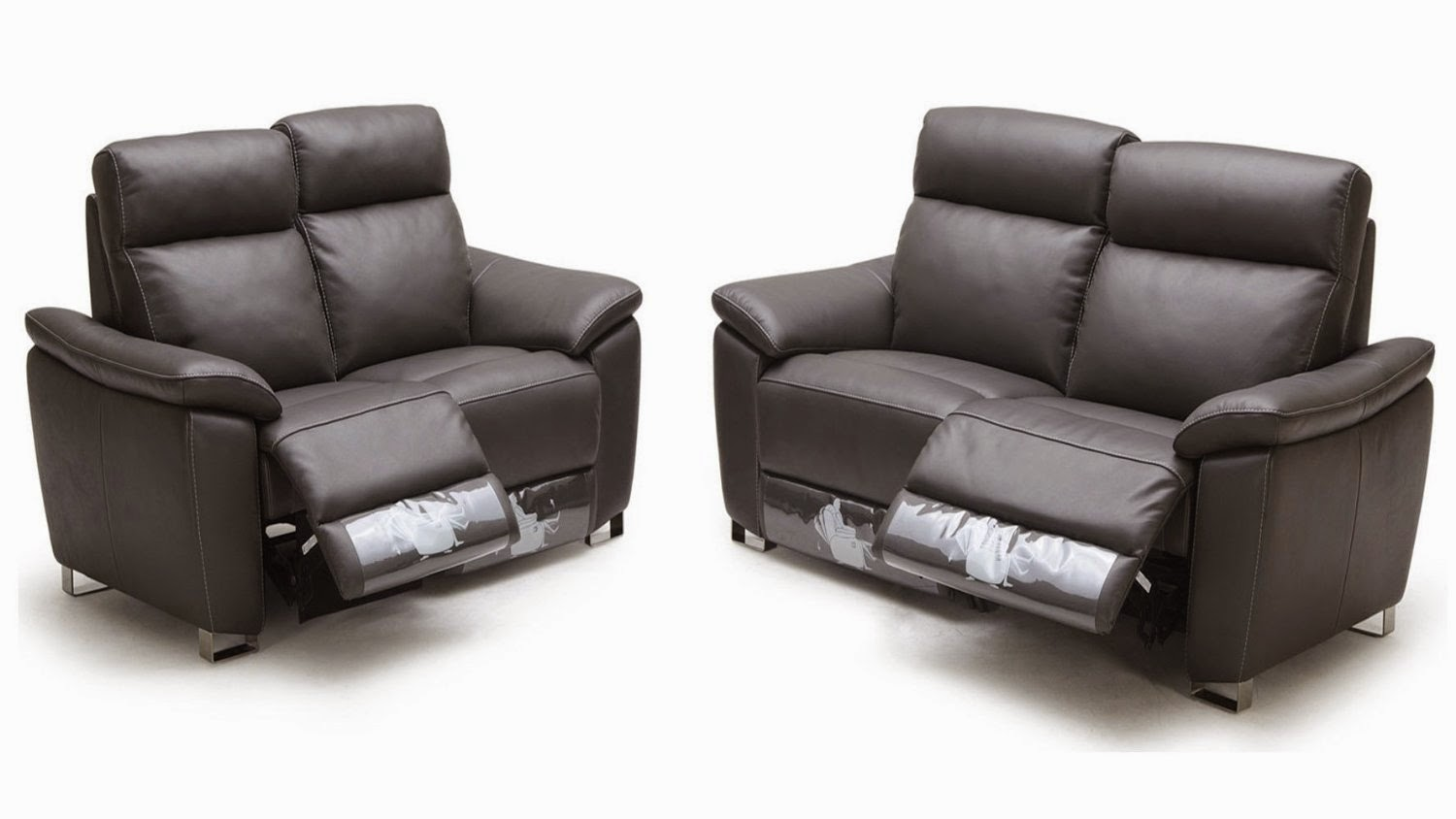 Two Seater Reclining Leather Sofas
