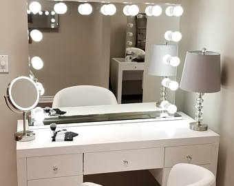XXL Bluetooth® Hollywod Forever Lighted Vanity Mirror w/ Sliding Dimmer &  Dual Outlets