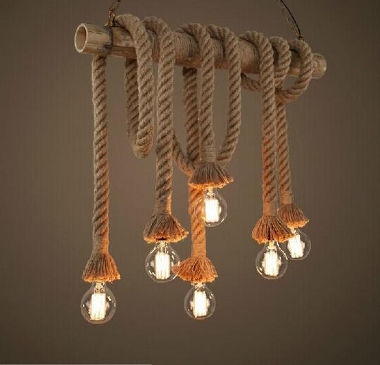 New Design Retro Single Heads Rope Pendant Lights Loft Vintage Lamp