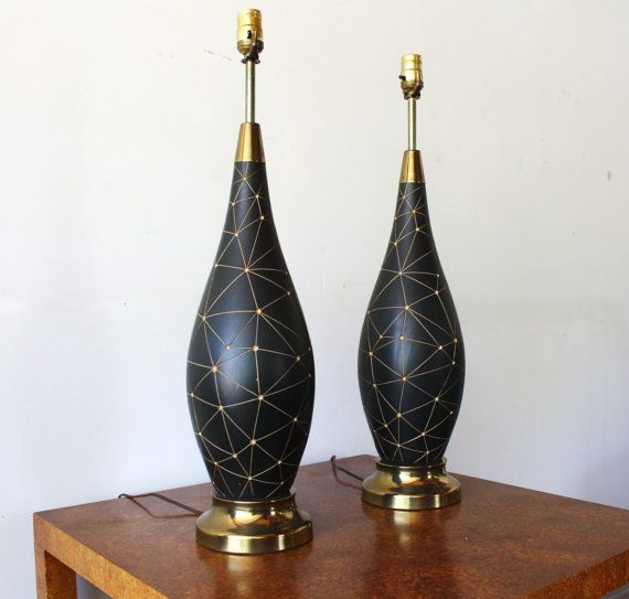Pair of Vintage Mid Century Modern 1960s Ceramic Table Lamp | For