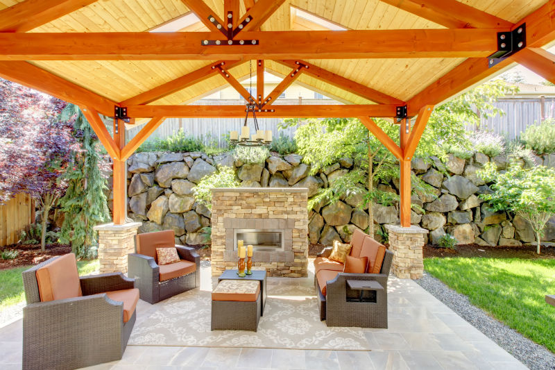 comfortable pavilion for outdoor with fabricated vinyl flooring an outdoor  fireplace with natural stone-looks