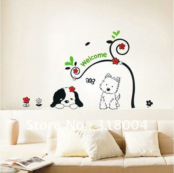 Two lovely dogs vinyl wall sticker decal kids room decor on sale,beautiful wall  art,retail and wholesale free shipping,150*100cm