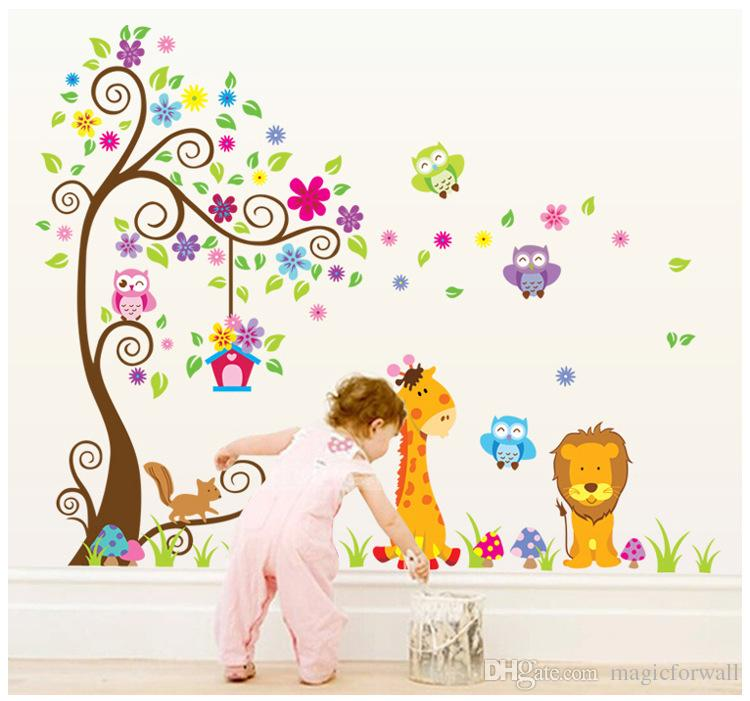 Material: PVC This Wall DECAL Stickers is big, cute, cheerful and colorful  decorations to your forest theme children room or playroom