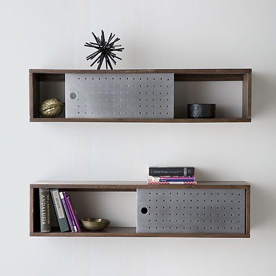 Dark mango wood shelf slides single perforated aluminum door to