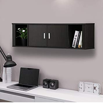 Amazon.com: Topeakmart Wall Mounted Floating Desk Hutch with Doors