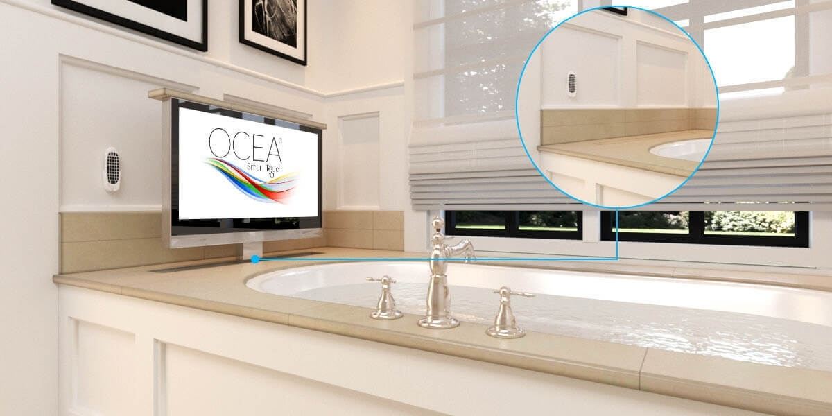 Ocea Bathroom TV with Automatic Lift System Installed near a bathub