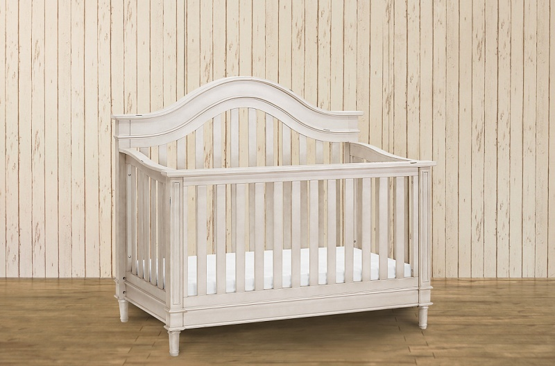 Amelia 4-in-1 Crib w/ Toddler Rail-Distressed White