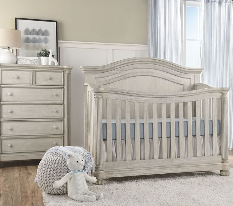 Kingsley Baby Charleston 2 Piece Nursery Set in Weathered White - Crib and  Chest