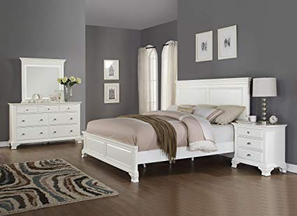 Roundhill Furniture Laveno 012 White Wood Bedroom Furniture Set, Includes  Queen Bed, Dresser,