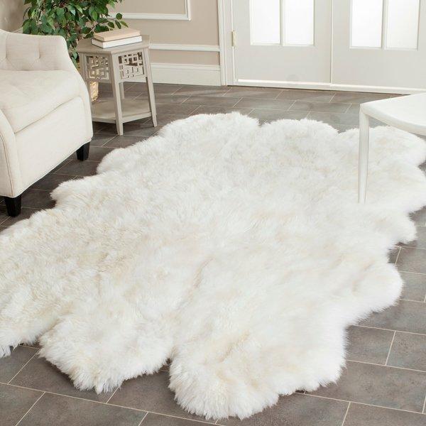 Safavieh Hand-woven Sheepskin Pelt White Shag Rug