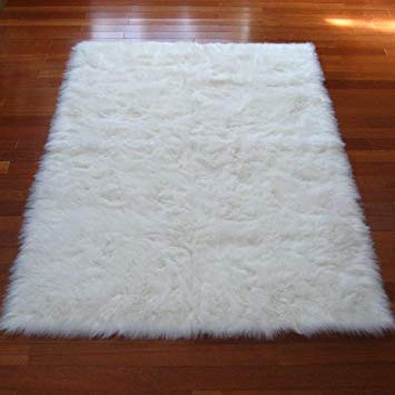 Softest French White Sheepskin Faux Fur Shag Rug Feels & Looks Real,  Without Animal Cruelty