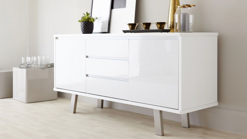 Modern White Gloss Sideboard with Soft White Close Drawers