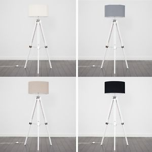 Image is loading White-Wood-amp-Chrome-Tripod-Floor-Lamp-Home-