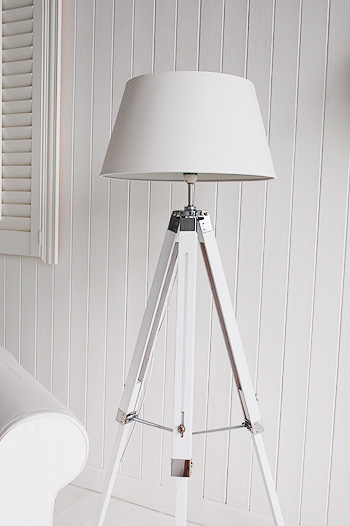 White Wooden Floor Lamp
