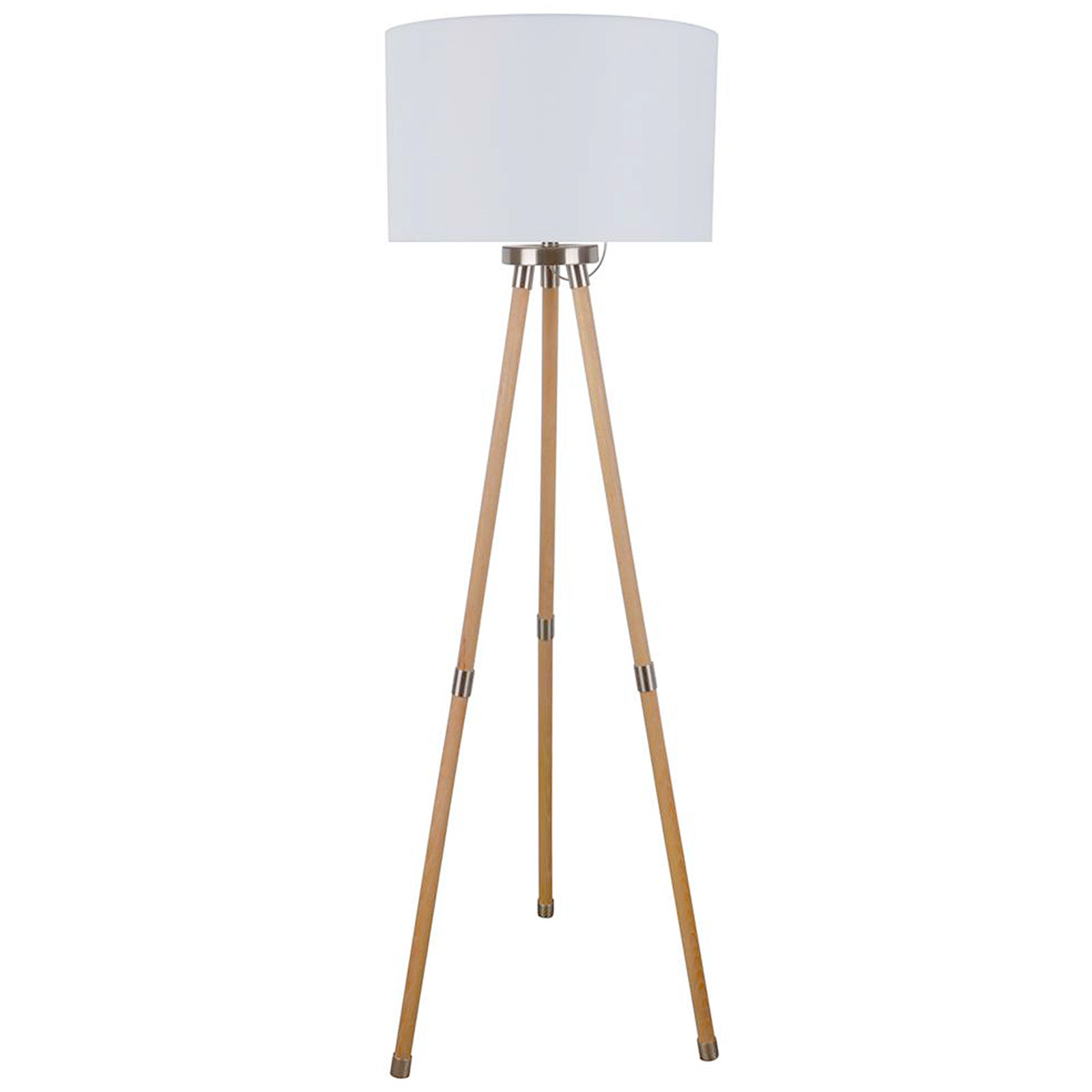 Brighten up your room with white wooden   tripod floor lamp