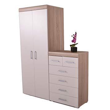 DP 2 Door Wardrobe & 4+2 Chest of Drawers in White & Oak Bedroom
