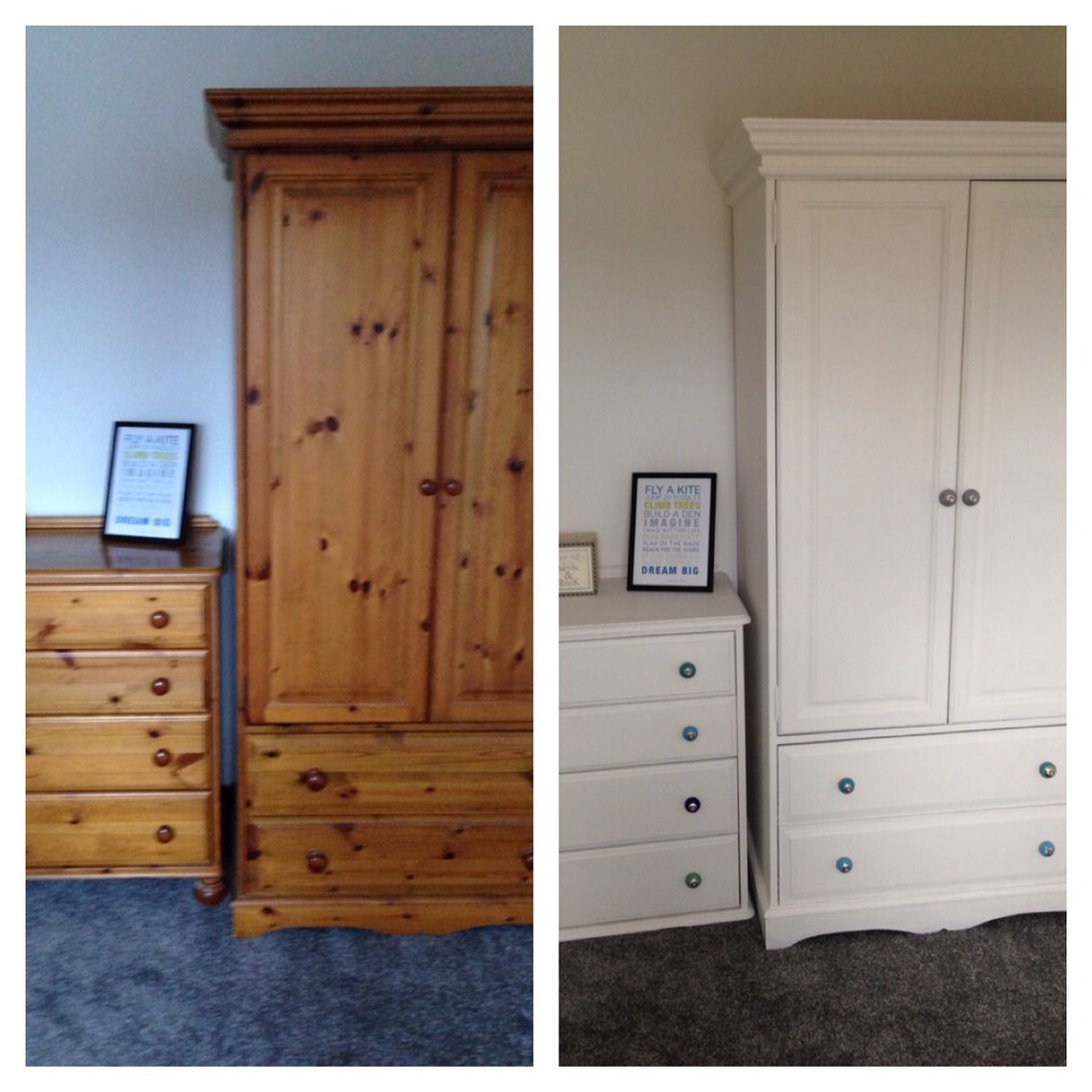 Pine wardrobe and drawers upcycled using 2 coats of wood primer, 2 coats of  Dulux emulsion in White Chiffon. Knobs replaced with funky coloured ones  from