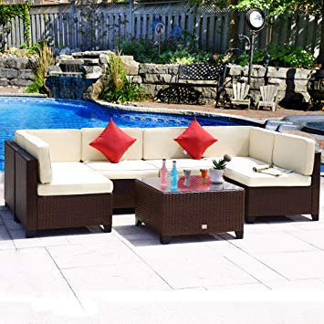 Cloud Mountain Outdoor Sectional 7 Piece Wicker Patio Furniture Set Rattan  Outdoor Conversation Sofa Dining Set
