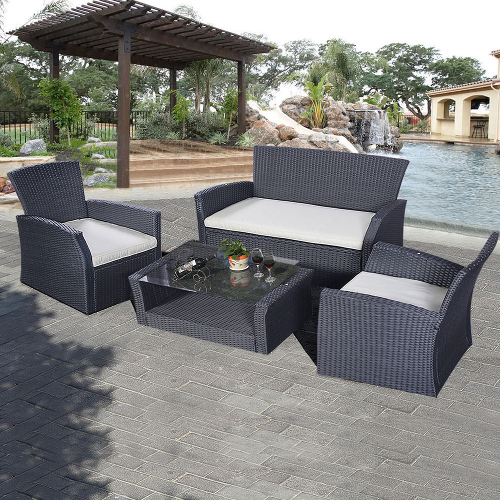 Goplus 4PCS Outdoor Patio Furniture Set Wicker Garden Lawn Sofa Rattan  6952938332712 | eBay