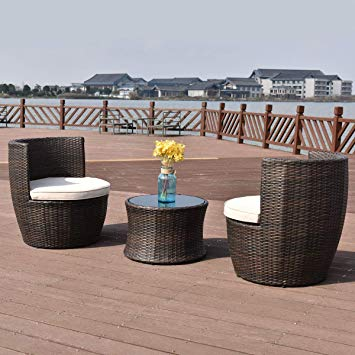 Tangkula 3 Piece Patio Furniture Set Wicker Rattan Outdoor Patio  Conversation Set with 2 Cushioned Chairs & End Table Backyard Garden Lawn  Chat Set