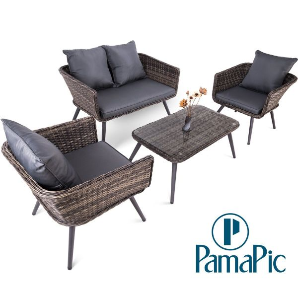 4 PCS Rattan Patio Furniture Set, PamaPic Indoor-Outdoor Wicker Sectional  Seat Cushioned Loveseat Sofa. Decoration for Garden Lawn, Backyard, Pool.