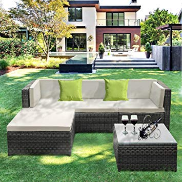 IKAYAA Outdoor Patio Furniture Set, 5 Piece Wicker Rattan Garden Sectional  Sofa with Soft Cushions, Glass Coffee Table
