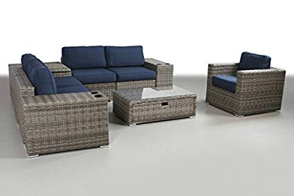 Patio Furniture Sunbrella Cushion | PE Rattan Outdoor Wicker Sectional  Conversation Black Washable Seat Cushions & Glass Coffee Table | Patio,