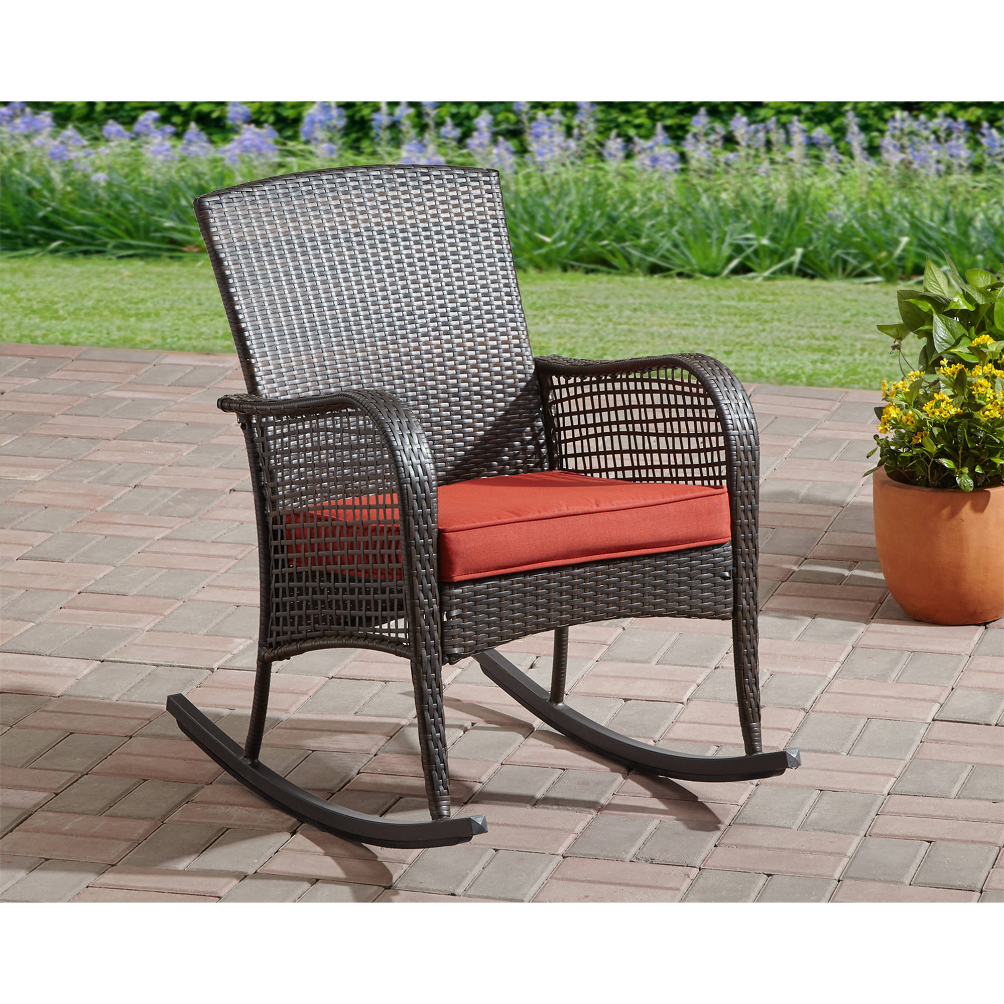 Click Thumbnail to Enlarge. Cushioned wicker rocking chair