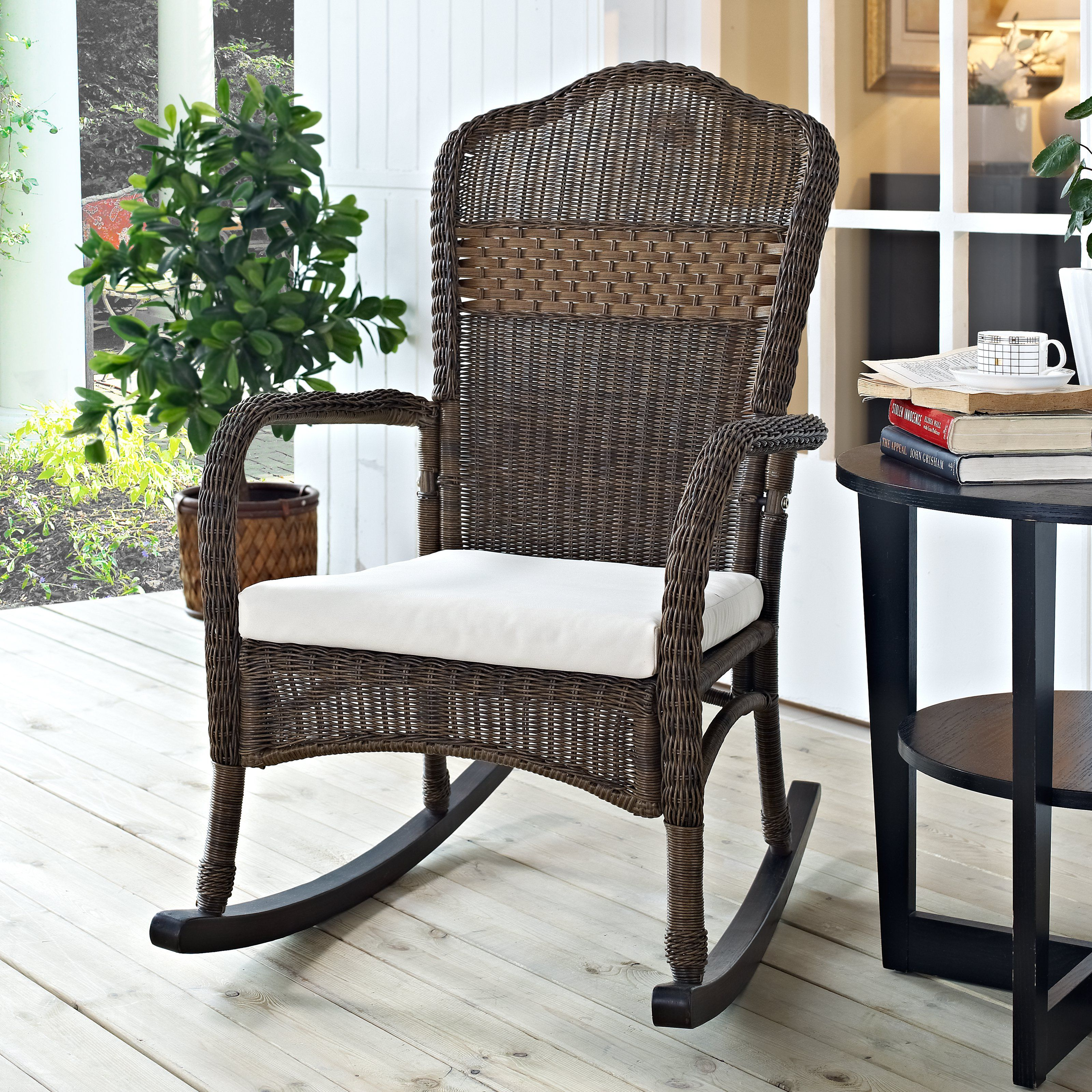 Coral Coast Mocha Resin Wicker Rocking Chair with Beige Cushion - $209.98  @hayneedle
