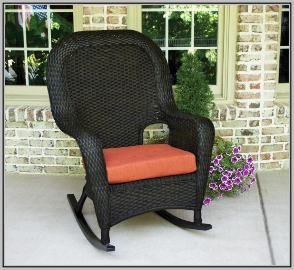 Wonderful Wicker Rocking Chair Cushion The Portside Classic All Weather Set  Inside Image Of Furniture Interesting
