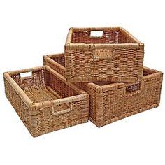 Wicker Storage Basket, Shelf Drawer Display, Long - Fern Reed