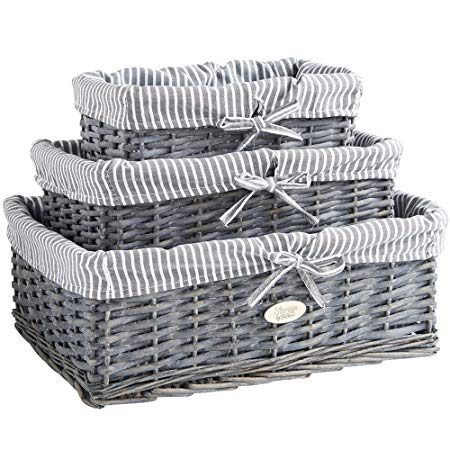 VonHaus Set of 3 Natural Wicker Storage Baskets | Display Hamper for  Bathroom, Living Room