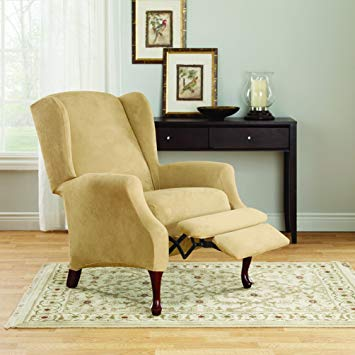 Amazon.com: Sure Fit Stretch Suede Wing Chair Recliner Slipcover