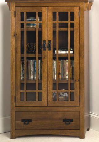 Cherrystone Furniture - Mission Bookcase with drawer and wood framed