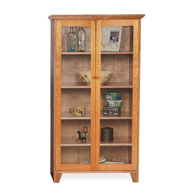 Custom Glass Door Shaker Bookcase | Natural Cherry, Walnut, Oak or Maple